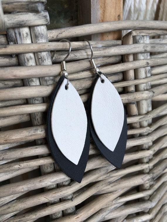 Geometric Leather Earrings - Black and White Mod Style Leaf Dangle Earrings - Lightweight Dangle Statement Earrings for Her