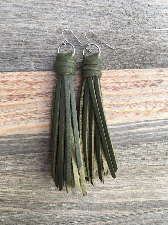 "Olive Green Fringe Tassel Earrings -  Choose 2.5"" or 3.5"" - Long Dangle Faux Leather"