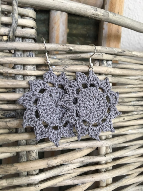 Crochet Mandala Circle Earrings in Light Gray - Lightweight Bohemian Lace Jewelry