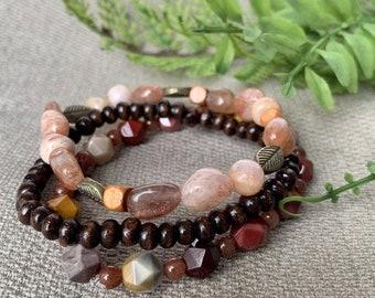 Gemstone and Wood Bead Stretch Bracelet Set - 3 Stackable Beaded Bracelets for Women