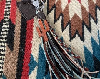 Southwestern Style Tassel Keychain with Leather Cactus Charm - Boho Western Tassel Bag Charm