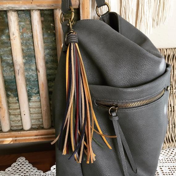 """Tassel Keychain Bag Charm - Large Tassel  8"""" + clip - Fringe Tassel Keychain, Tassel for Purse, Boho Keychain, Gift for Her (LT203)"""