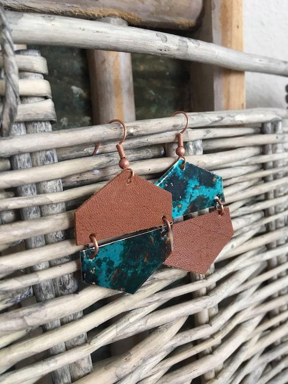 Geometric Leather and Copper Hexagon Earrings - Modern Leather Earrings - Asymmetrical Earrings - Statement Earrings