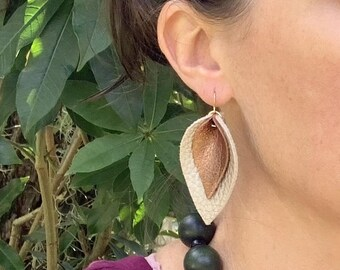 Leather Leaf Earrings for Women - Layered Genuine Leather Earrings - Boho Dangle Earrings