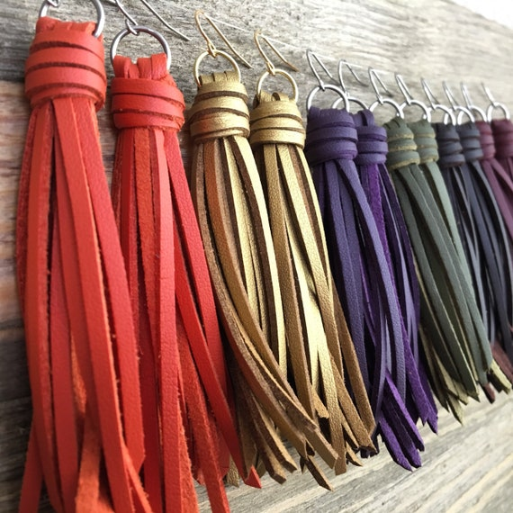 "Fringe Tassel Earrings in Faux Leather - Choose your Color + Finish - 3.5"" Long Boho Statement Earrings"