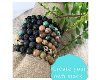 Natural Stone and Lava Stone Stretch Bracelet - Beaded Bracelet for Men or Women - Stacking Bracelets - Boho Bracelets