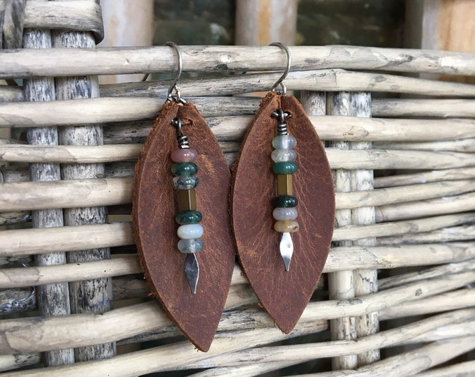 Featured listing image: Boho Leather Leaf Earrings  - Earthy Bohemian Dangle in Deep Brown Leather with Agate Drops  - Gift for Her