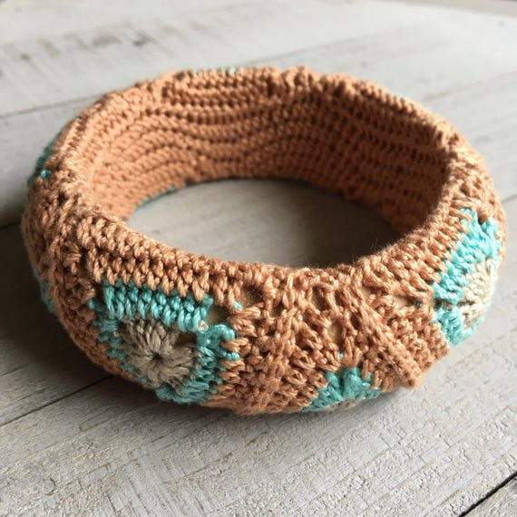 Geometric Bracelet - Crocheted Triangles in Rose Gold Blue and Brown - Boho Jewelry Modern Bohemian Gypsy Hippie Gift for Her