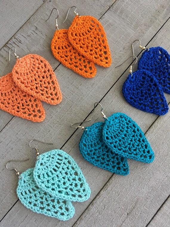 Teardrop Crochet Earrings - Lightweight Dangle Earrings in Bright Colors