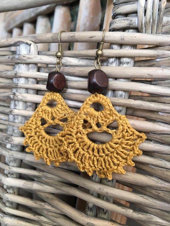 Gold Boho Earrings, Modern Bohemian, Crochet Earrings, Lightweight Earrings, HIppie, Gypsy, Dangle, Gift for Her, Gift Under 25