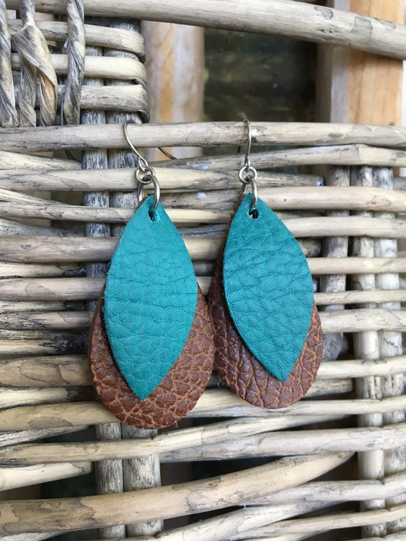 Geometric Leather Earrings in Turquoise and Brown Lightweight Leather Leaf and Teardrop - Modern Boho Dangle Earrings