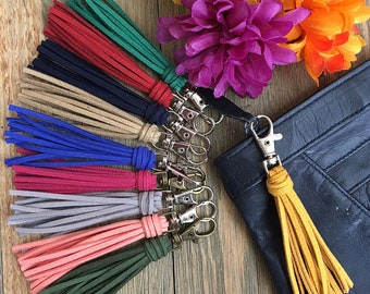 """Purse Charm - Tassel Bag Charm  - 3.5"""" Mini Faux Suede Leather Tassel on Clip, Gift Under 10 for Bridesmaids, Mom, BFF, Sisters (ST110)"""