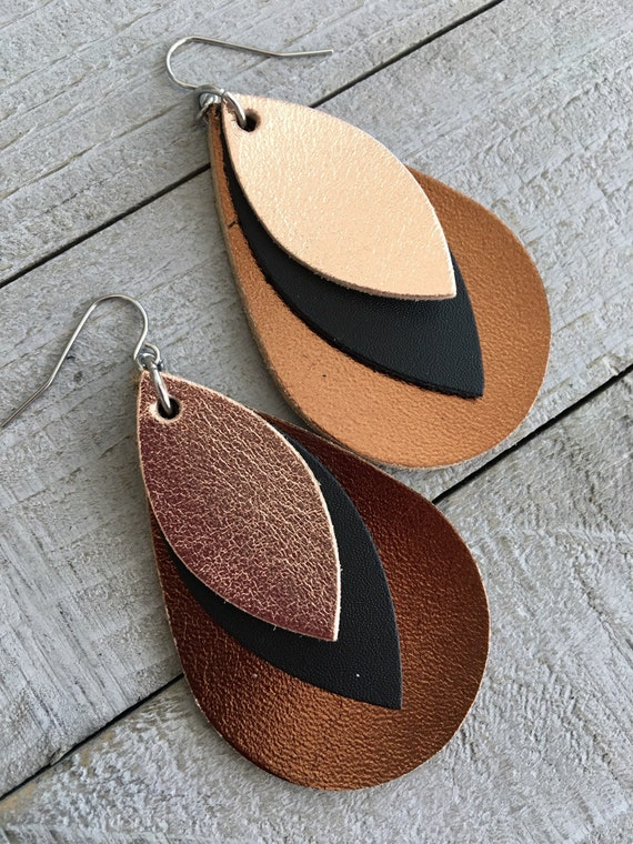 Leather Teardrop Earrings - Metallic Leather Leaf - Lightweight Leather Boho Jewelry