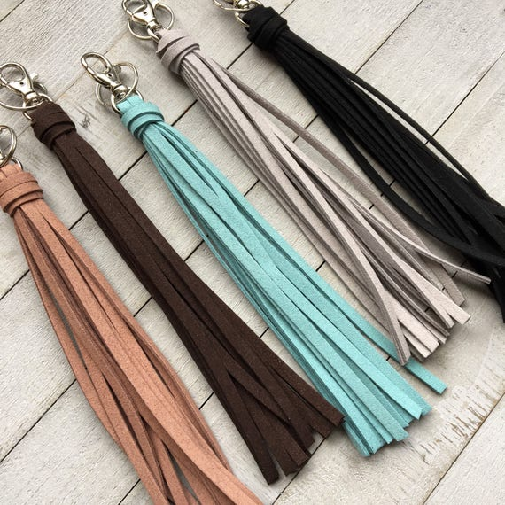 "Large Tassel Keychain - 8"" Faux Leather Tassel - Big Tassel Purse Charm, Handbag Tassel, Backpack, Boho (ST122)"