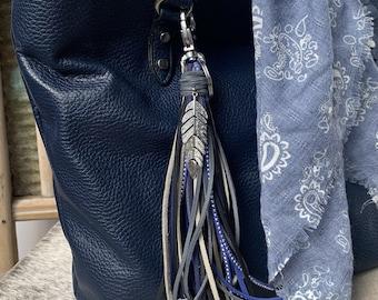 Southwestern Style Fringe Bag Charm with Feather Charm