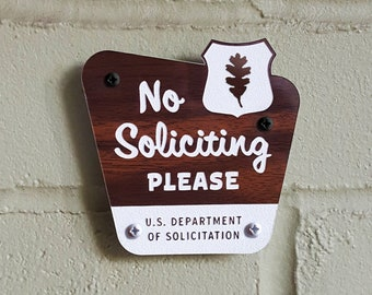 No Soliciting Please Sign - National Parks Style - Laser Cut Typography Mid-Century Modern Retro Wilderness Sign