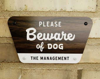 Beware of Dog Sign - National Parks Style - Personalizable - Laser Cut Typography Mid-Century Modern Retro Wilderness Sign