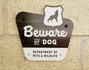 Beware of Dog Sign - National Parks Style - Laser Cut Typography Mid-Century Modern Retro Wilderness Sign