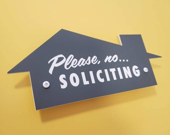 Mid-Century Modern No Soliciting Sign - Please No Soliciting - Laser Cut Typography Retro House Outline