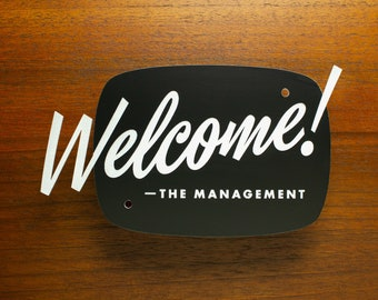 Mid-Century Modern Welcome Sign - Custom Your Text - Laser Cut Typography Retro Script Lettering