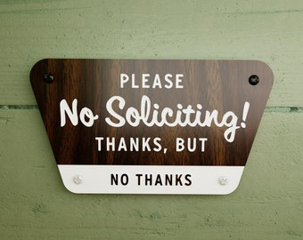 No Soliciting Sign - National Parks Style - Thanks But No Thanks - Laser Cut Typography Mid-Century Modern Retro Wilderness Sign