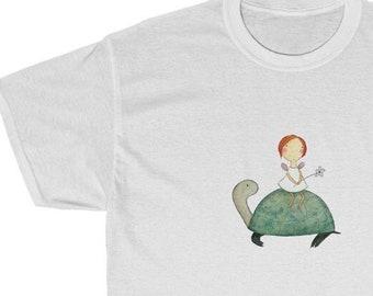 Unisex Heavy Cotton Tee - Fairy on Tortoise