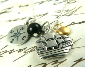 Pirate Treasure Sterling Silver Ship Charm Necklace Avast Me Hearties
