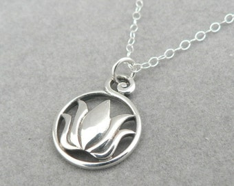 Lotus in Ring sterling silver flower charm necklace zen botanical jewelry