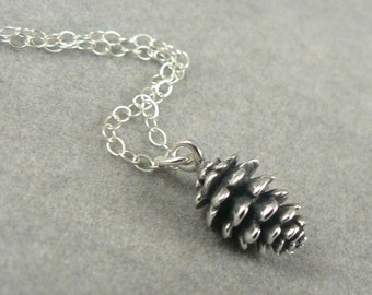 Tiny Pine Cone sterling silver charm necklace woodland jewelry