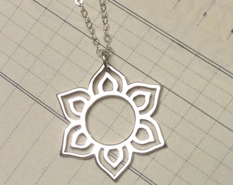 Mehndi inspired lotus sterling silver pendant charm necklace sunburst jewelry