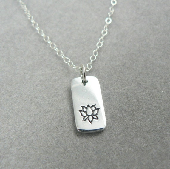 Lotus Sterling Silver Tab Charm Necklace Nature Botanical Yoga Etsy