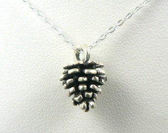 Small Pine Cone sterling silver charm necklace