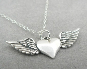 Give My Heart Wings Free Spirit Sterling Silver Charm Necklace, 16 in.