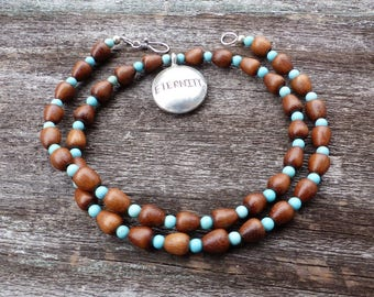 Eternity necklace - Karen Hill Tribes Fine Silver Pendant Bayong Wood Turquoise Howlite Meditation Mindfulness Jewelry Talisman