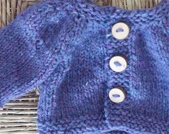 "Waldorf Doll Hand Knit Cardigan - fits 16"" Baby Doll - Purple"