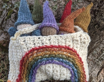Hand Knit Rainbow Gnomes in a Rainbow Bag - Waldorf Inspired