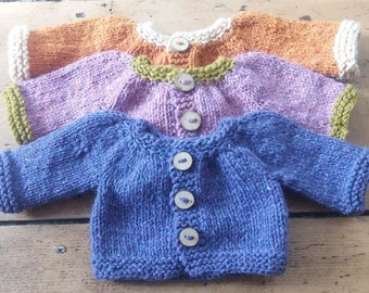 "Knitting Pattern - 16"" Baby Doll Cardigan"