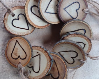Set of 10 Branch Tags with Hand Wood Burned Heart - Holiday Tags - Gift Giving