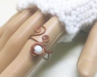 Copper ring, size 7.5, Wind + Snow