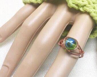 Copper ring, size 6, bright green