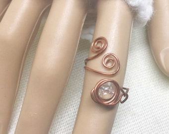 Copper ring, size 6.5, Ice + Wind