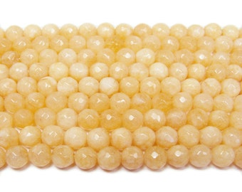 Khaki Yellow Jade Faceted Gemstone Beads