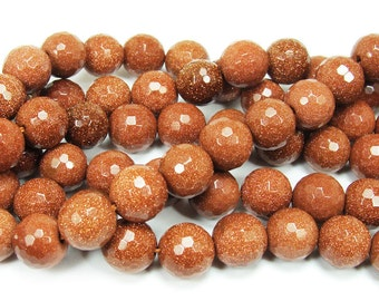 Brown Goldstone Faceted Beads