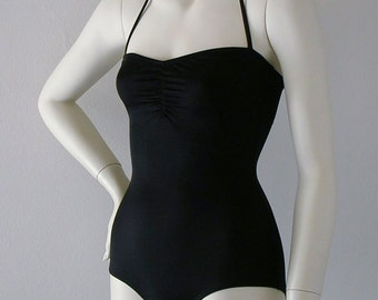 Black Retro One Piece Swimsuit Made to Order