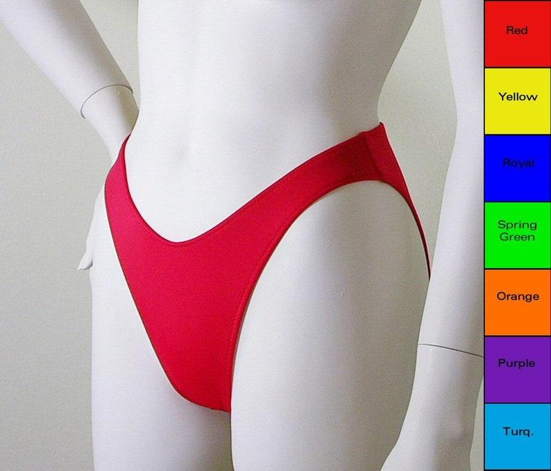 37f977efa6 80s 90s High Leg Bikini Bottom with Moderate Coverage in