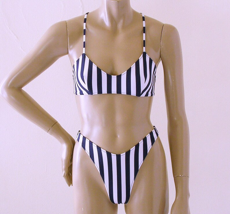 80s 90s High Leg Brazilian Bikini Bottom and Crossback Ballet Top in Navy Blue and White Stripe