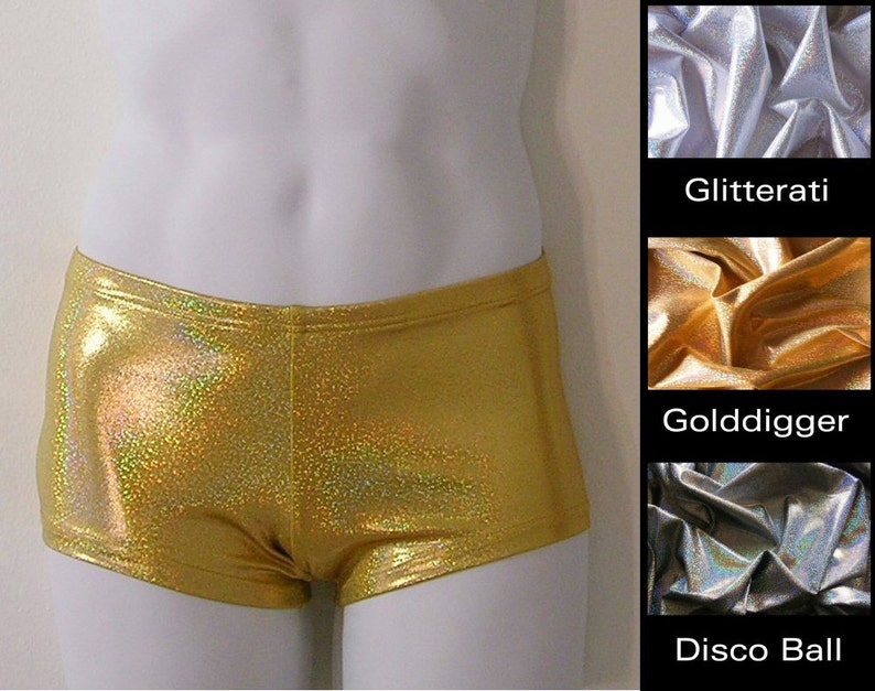 or Gold Glitter Hologram in S.M.L.XL Mens Low Rise Square Cut Swimsuit in Disco Ball Silver