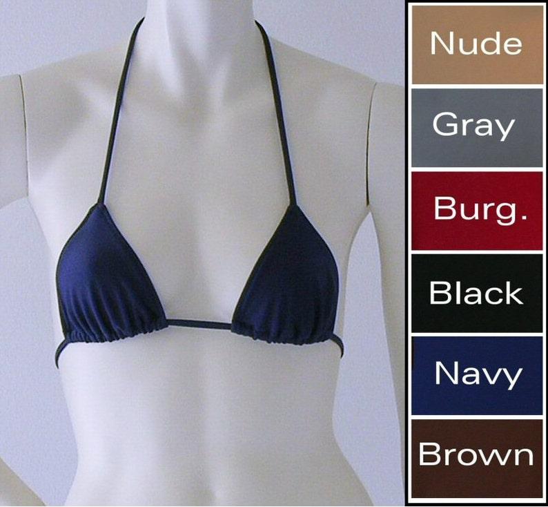 c7212d6e511 Triangle Bikini Top in Black Navy Brown Nude Gray or   Etsy