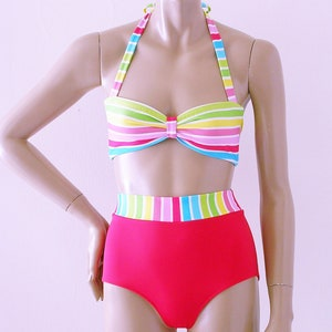 and Burgundy in S-M-L-XL Brown High Waisted Swimsuit Bikini Bottom and Retro Bandeau Top in Black Navy Blue