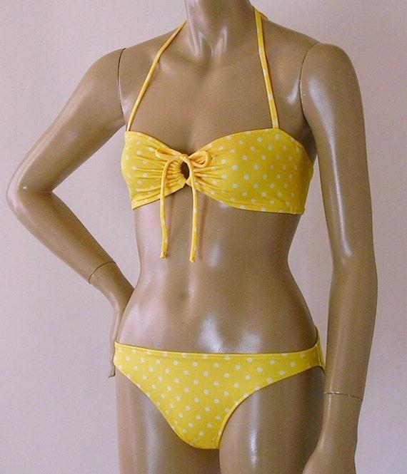 cb10341dae Retro Bandeau Halter Bikini Top and Full Coverage Bikini